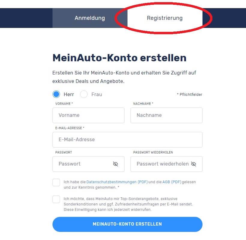 MeinAuto-Konto Registrierung ausfüllen